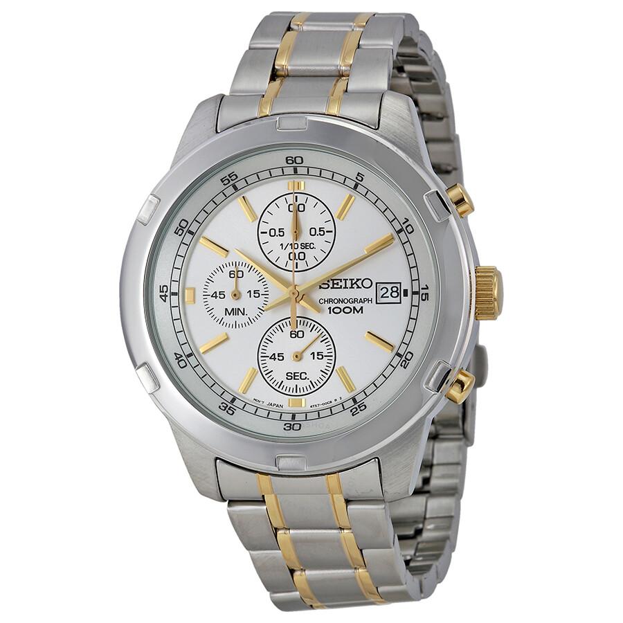 067433265 Seiko Chronograph Silver Dial Two-tone Men's Watch SKS423P1 ...