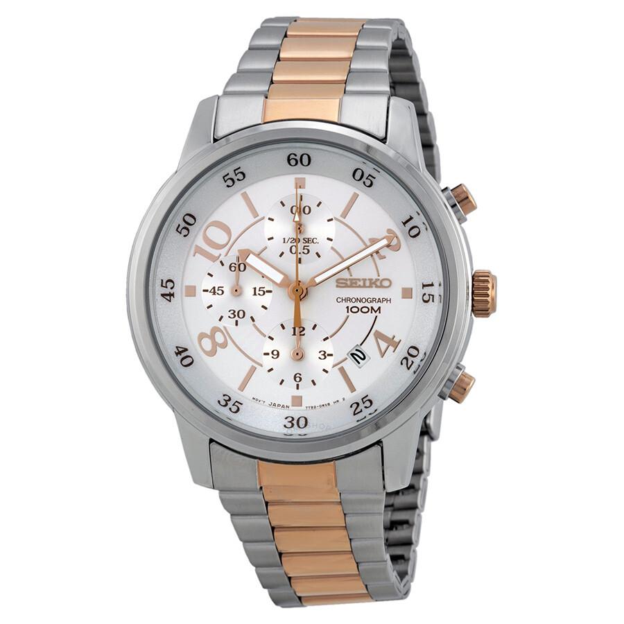 seiko chronograph silver two tone s sndw86