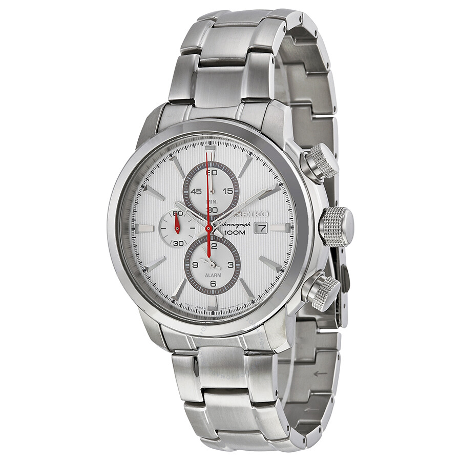 Seiko chronograph silver white dial stainless steel men s