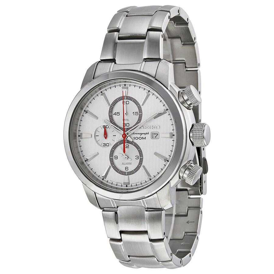 seiko chronograph silver white stainless steel s