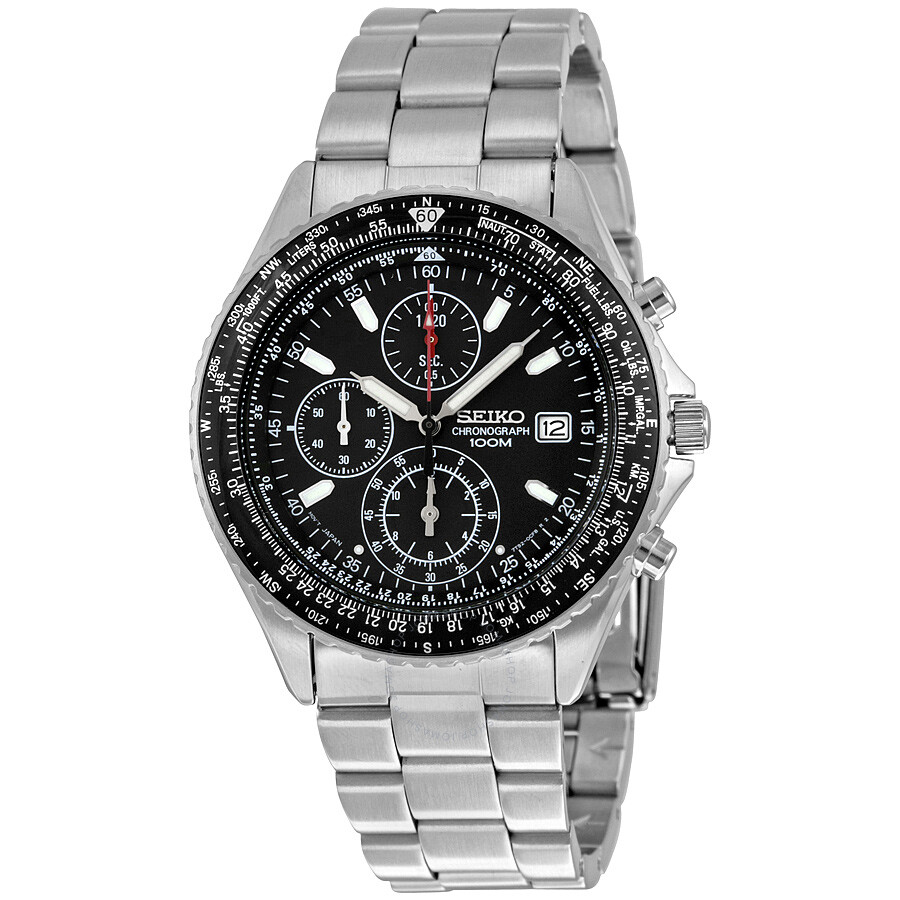 Seiko Chronograph Black Dial Men s Watch SND253 - Stainless Steel ... dd90a3355114
