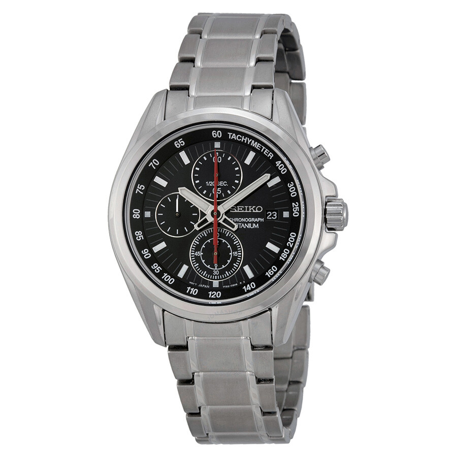 Seiko chronograph tachymeter black dial titanium men 39 s watch sndc93 titanium seiko watches for Titanium watches