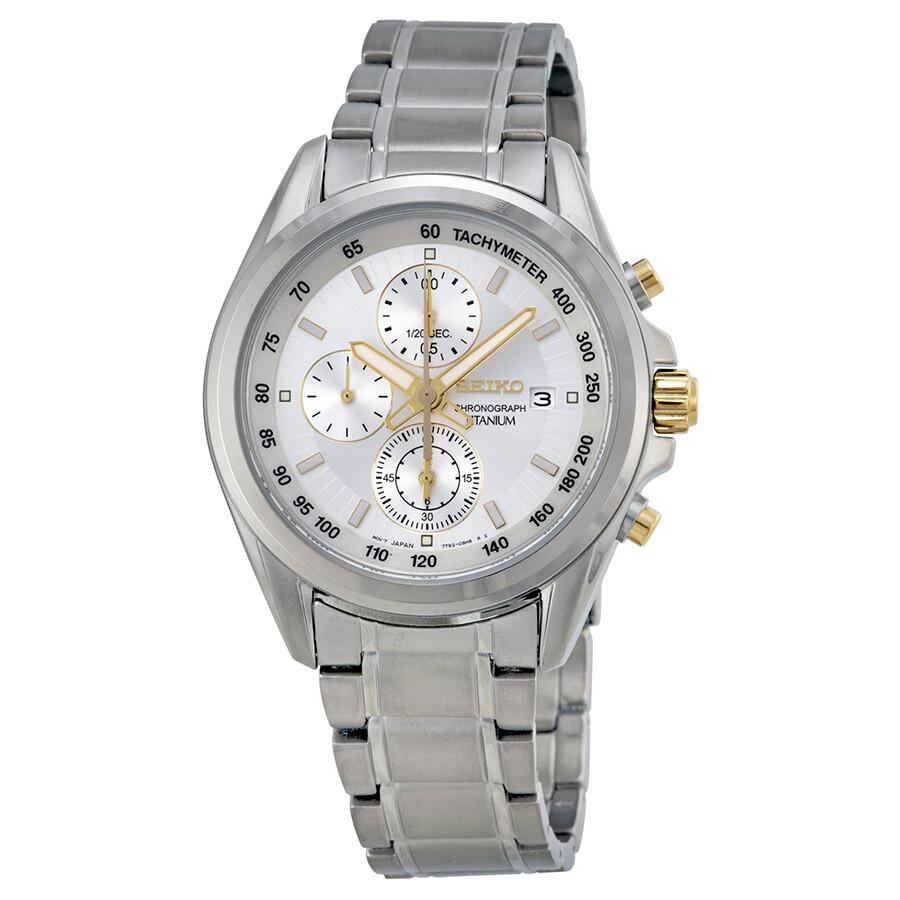 Seiko Chronograph Tachymeter Silver Dial Titanium Men s Watch SNDC95 ... 8b53900b69aa