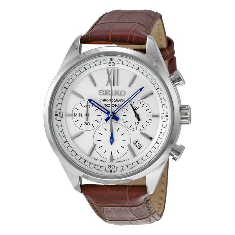 af5d97569 Seiko Chronograph White Dial Brown Leather Men's Watch SSB157 ...