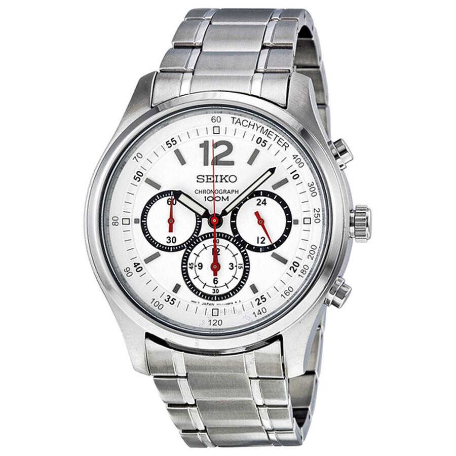 f01793a25 Seiko Chronograph White Dial Stainless Steel Men's Watch SRW007 ...