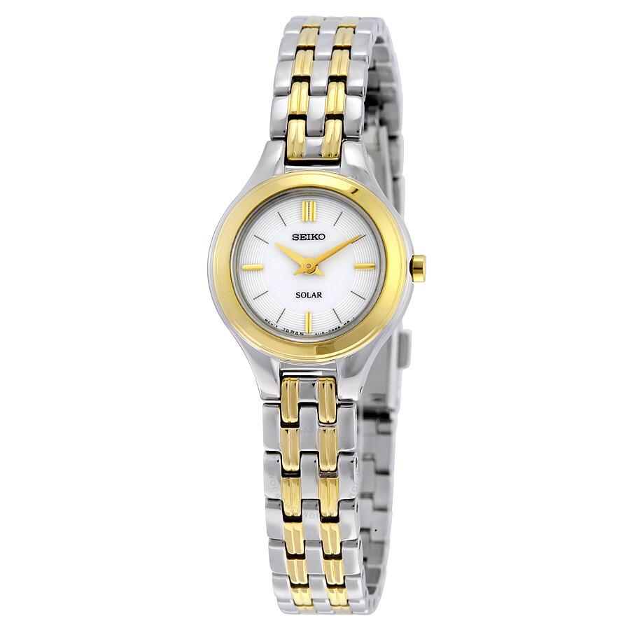 ce7783640d1 Seiko Classic Solar White Dial Two-tone Ladies Watch SUP210 - Solar ...