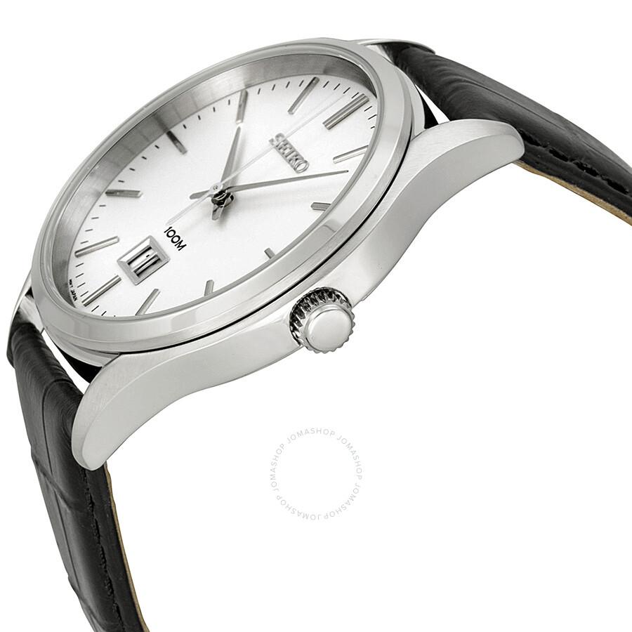 a09183a9b ... Seiko Classic White Dial Black Leather Men's Watch SUR019P2 ...