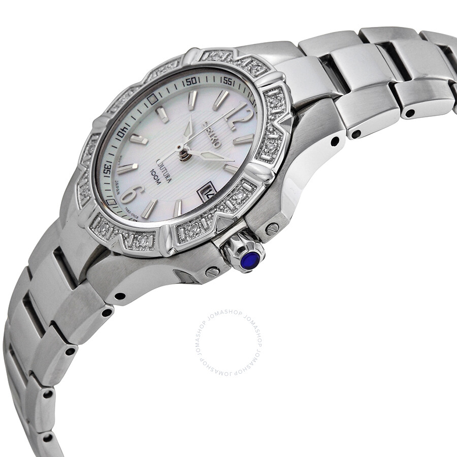 Seiko coutura diamond mother of pearl dial ladies watch sxdc33 coutura seiko watches for Mother of pearl dial watch