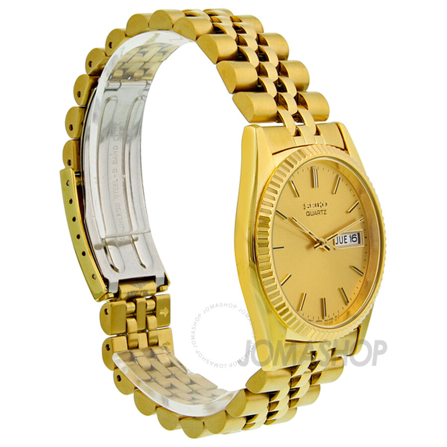 seiko day and date dress gold tone stainless steel men s watch seiko day and date dress gold tone stainless steel men s watch sgf206