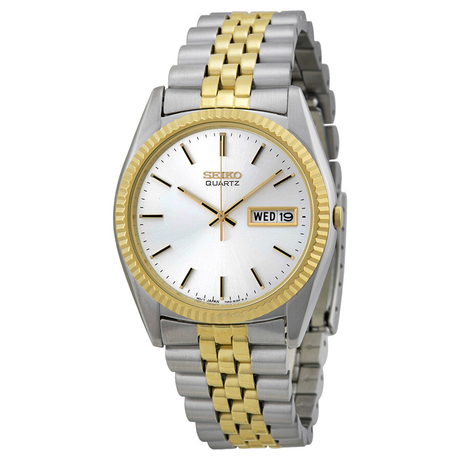 seiko day date dress two tone stainless steel men s watch sgf204