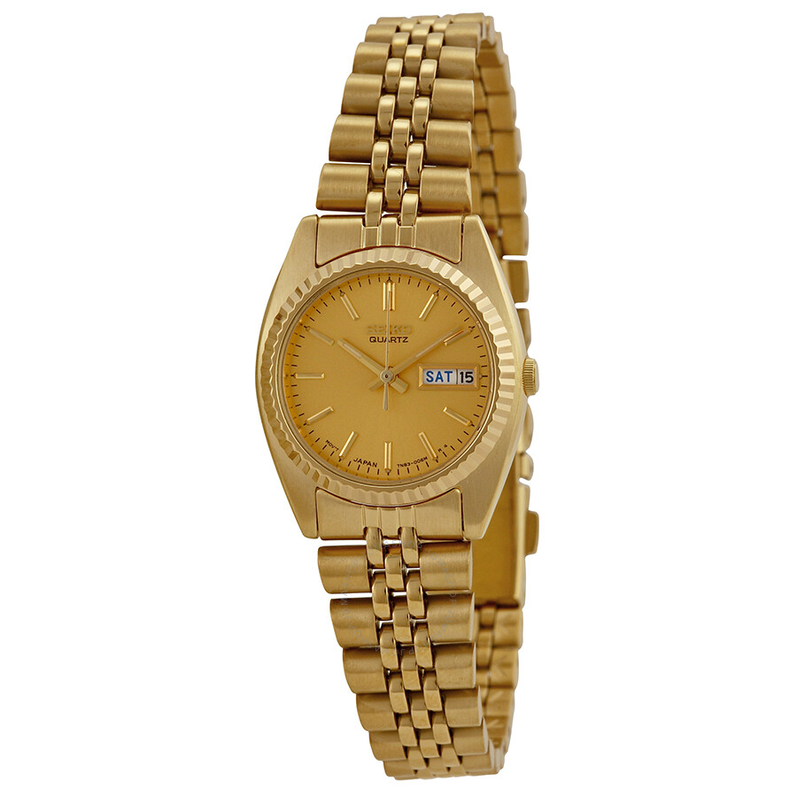 Seiko day date dress gold tone ladies watch swz058 stainless steel seiko watches jomashop for Watches gold