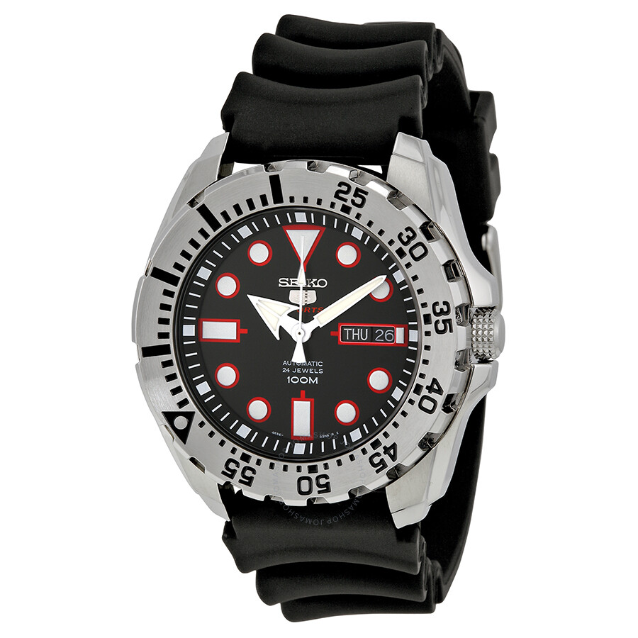 Seiko diver automatic black dial black rubber men 39 s watch srp601 diver seiko watches for Dive watch