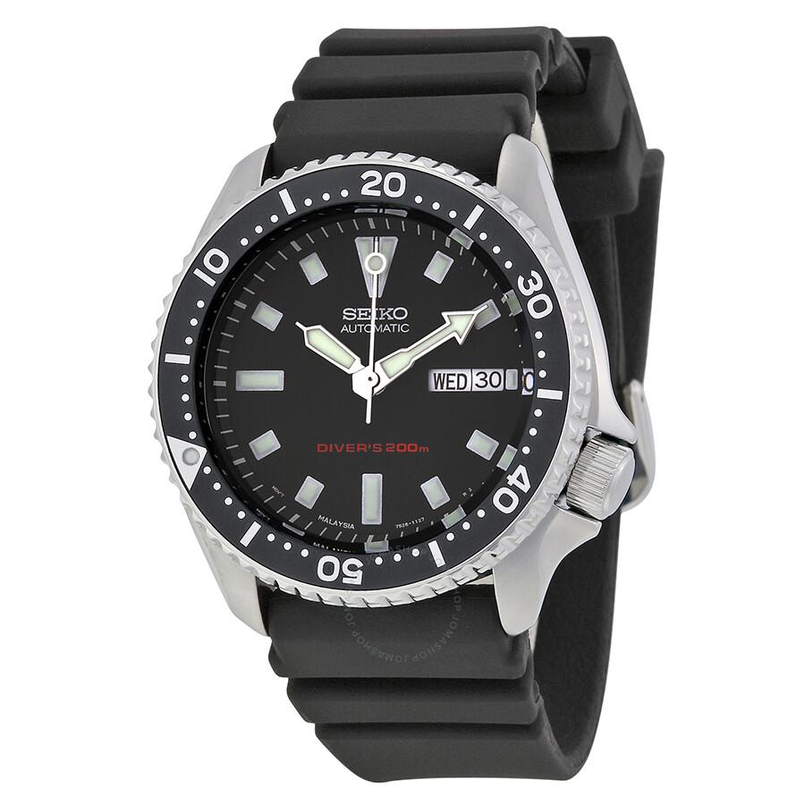 Seiko diver automatic black dial men 39 s watch skx173 diver seiko watches jomashop for Diver watches