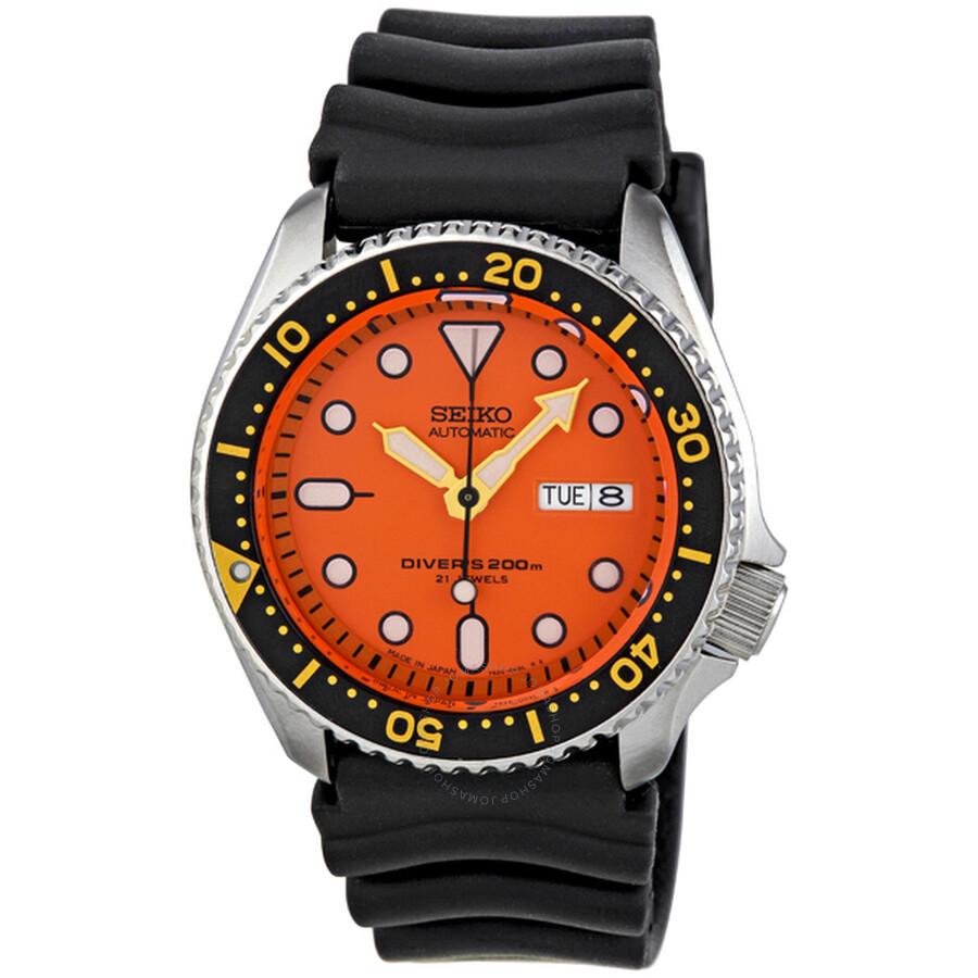 Seiko diver orange dial automatic men 39 s watch skx011j1 diver seiko watches jomashop - Orange dive watch ...