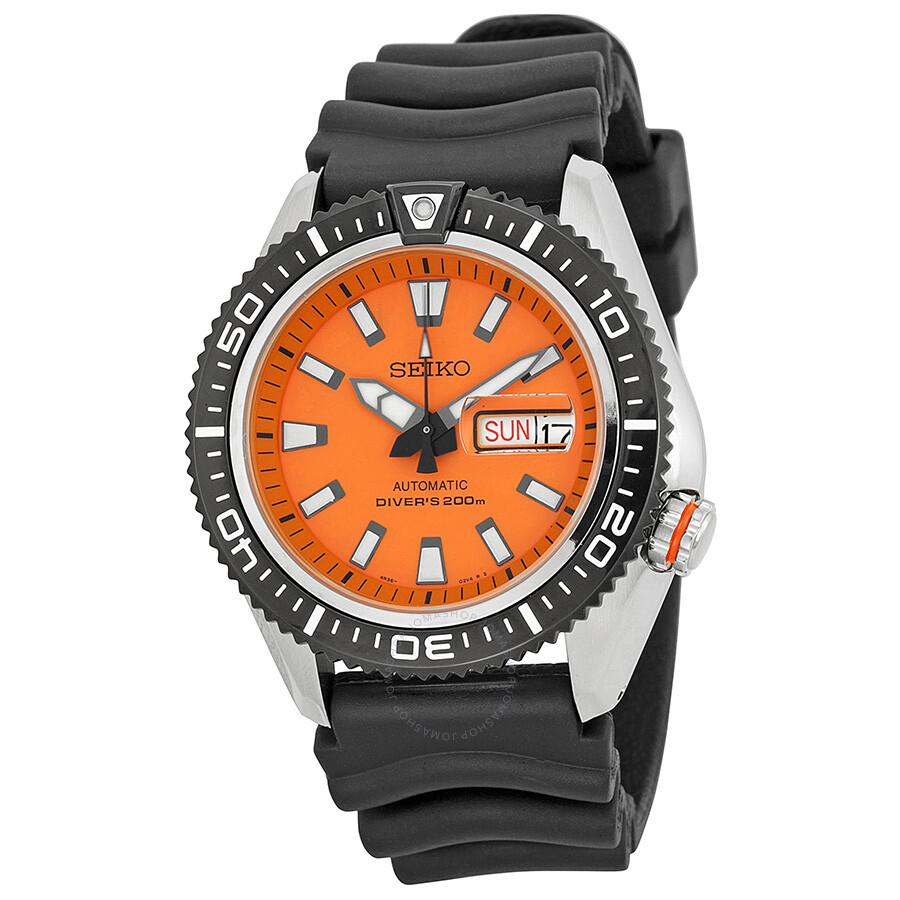 Seiko diver orange dial black rubber men 39 s watch srp497 - Orange dive watch ...