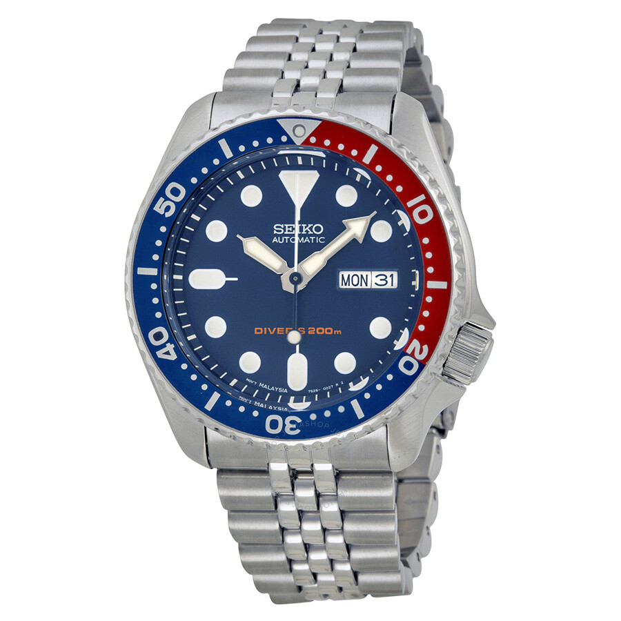 seiko diver steel blue red automatic men s watch skx175 diver seiko diver steel blue red automatic men s watch skx175