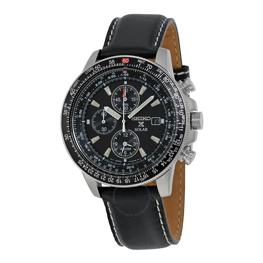 Seiko Flight Black Dial Chronograph Leather Strap Men's. Aviator Watches. Bezel Rings. Platinum Wedding Band Sets. Stacked Bands. Jasper Necklace. Mens Fashionable Watches. Thin Mens Wedding Band. Blue Pearl Pendant