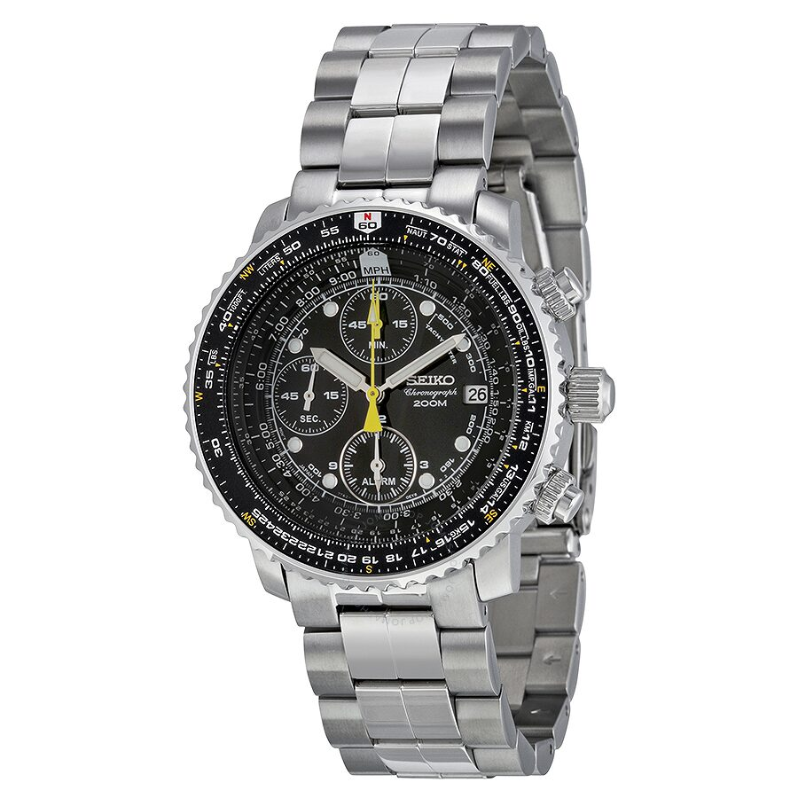Seiko Flight Chronograph Steel Black Dial Men's Watch SNA411 - Flight Chronograph - Seiko ...