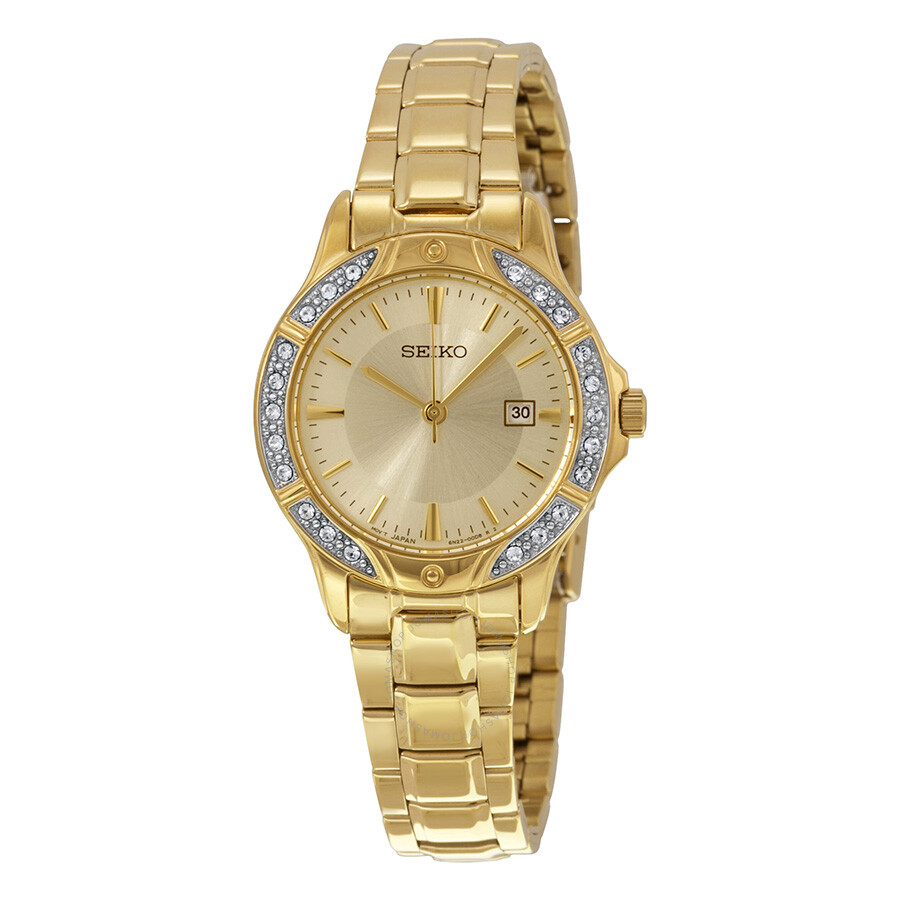 Seiko Gold Dial Goldtone Ladies Watch Sur874  Seiko. Natural Engagement Rings. Diamond Ring With Diamond Band. Elven Wedding Rings. Cartier Bands. Gold Bar Necklace. 10k Gold Engagement Rings. Silver Charm Bangle. Youtube Beads10k Gold Bracelet