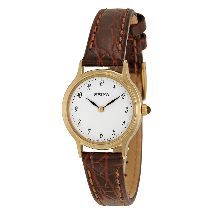 Seiko gold tone brown leather strap ladies watch sfq828 stainless steel seiko watches for Leather strap watches