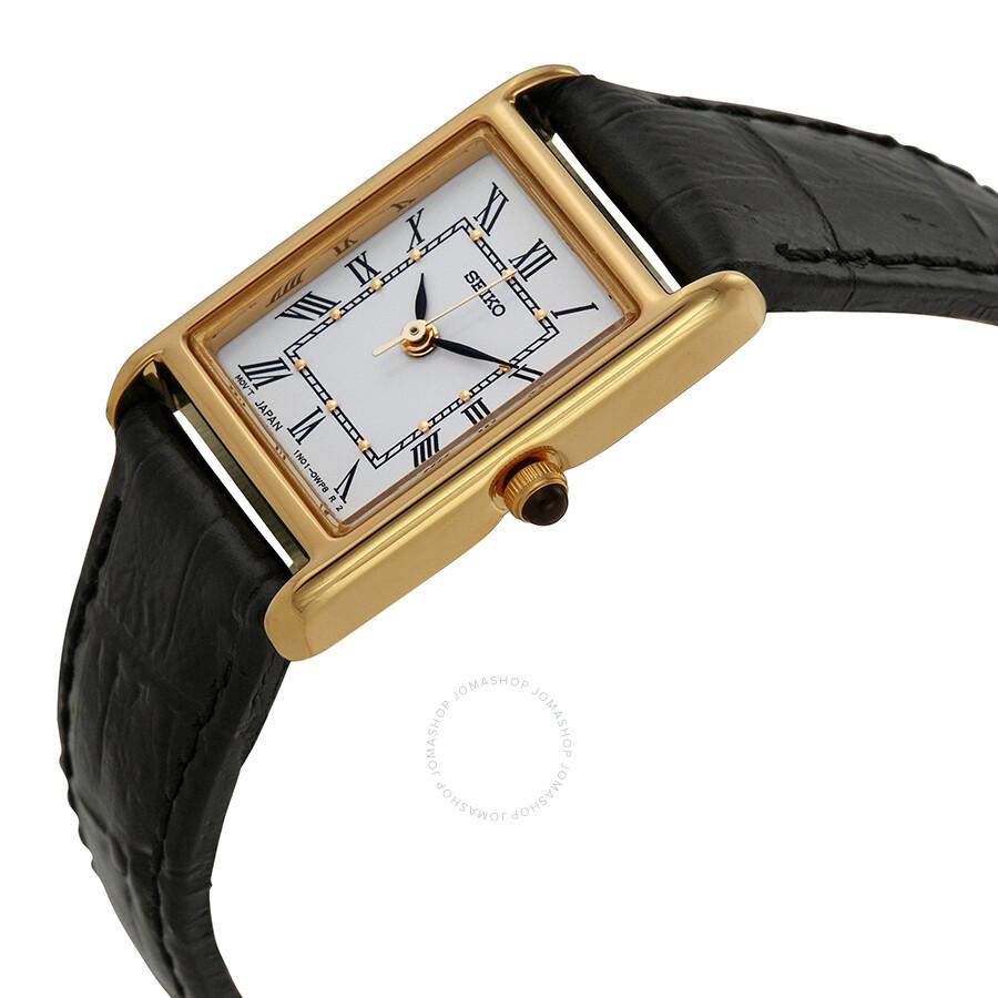 da21ad8aa6271 Seiko Gold-tone Black Leather Strap Ladies Watch SXGN42