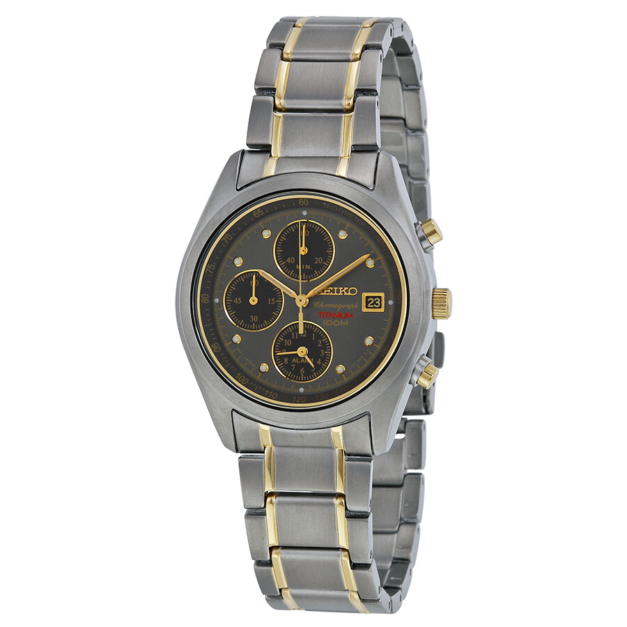Seiko grey dial two tone titanium men 39 s watch sna559 titanium seiko watches jomashop for Titanium watches