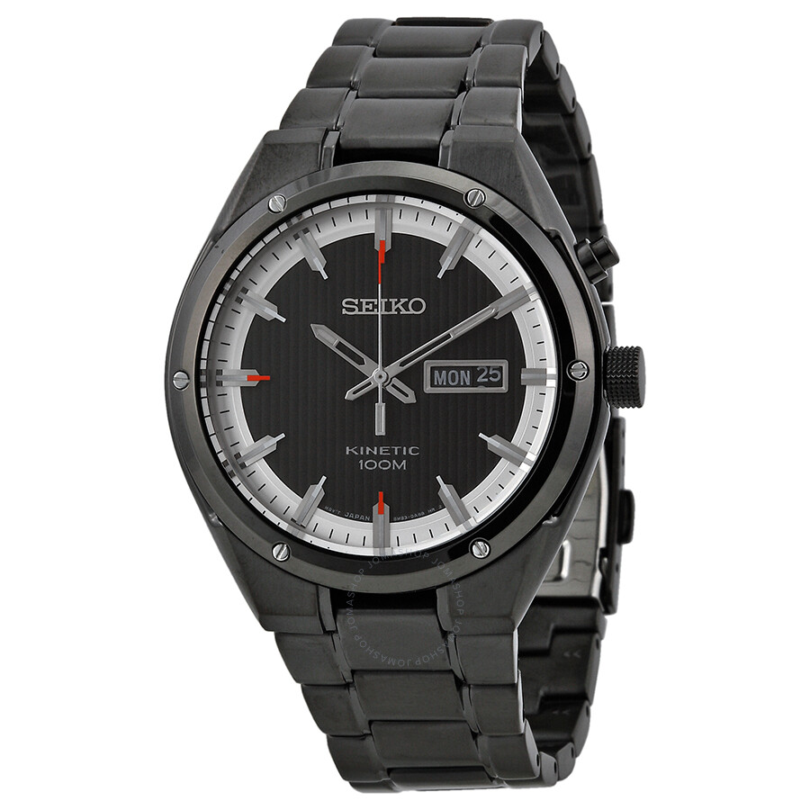 Seiko kinetic black and white dial black ion plated men 39 s watch smy153 kinetic seiko for Seiko kinetic watches