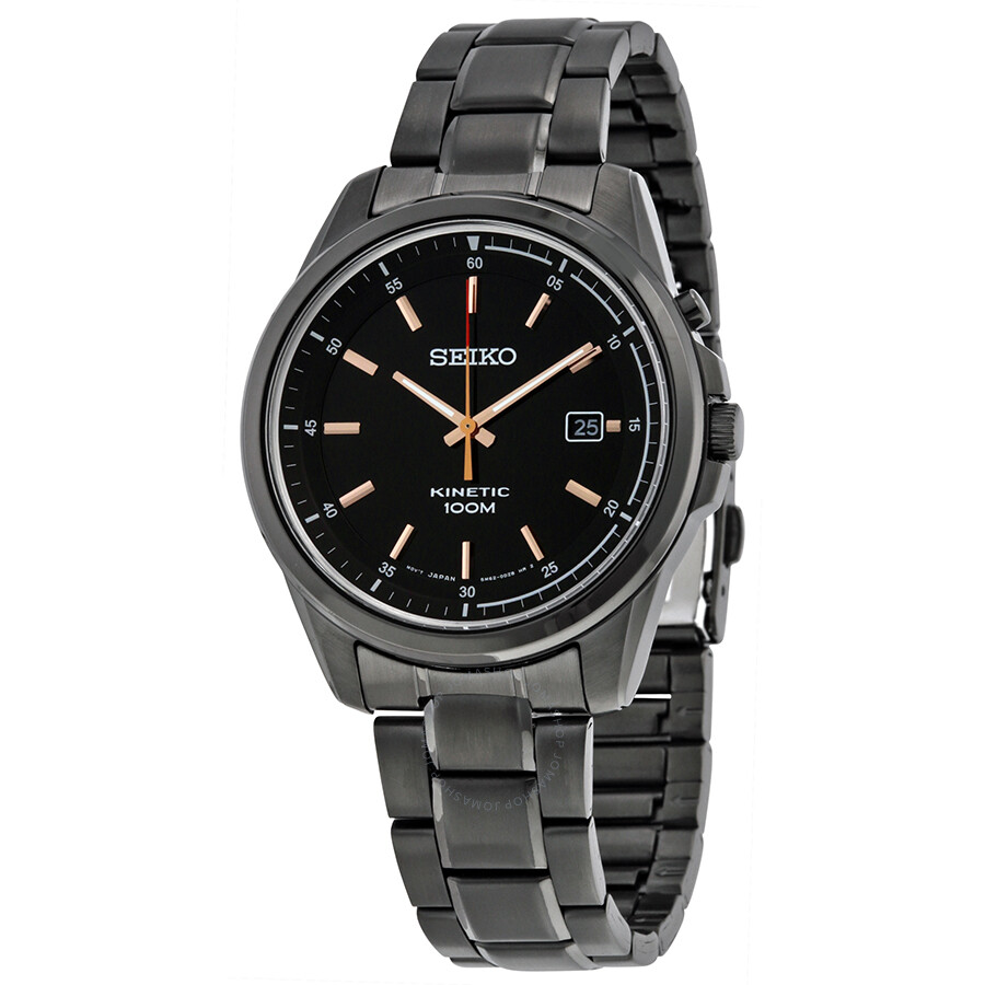 Seiko kinetic black dial black black ion plated men 39 s watch ska681 kinetic seiko watches for Seiko kinetic watches