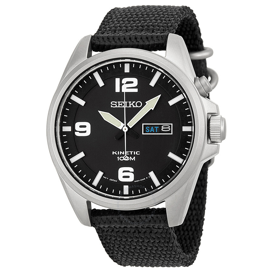 Seiko kinetic black dial black canvas men 39 s watch smy143 kinetic seiko watches jomashop for Seiko kinetic watches