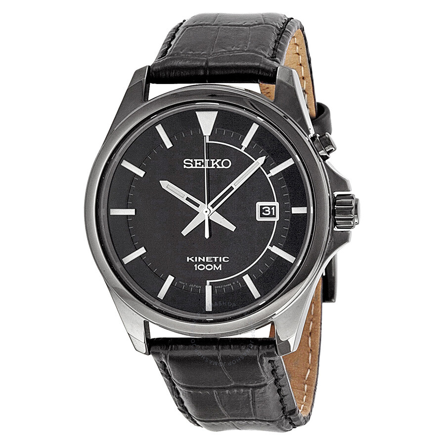 Seiko kinetic black dial black leather men 39 s watch ska583 kinetic seiko watches jomashop for Seiko kinetic watches