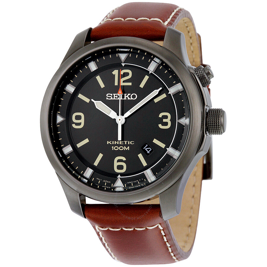 Seiko kinetic black dial brown leather men 39 s watch ska689 kinetic seiko watches jomashop for Seiko kinetic watches