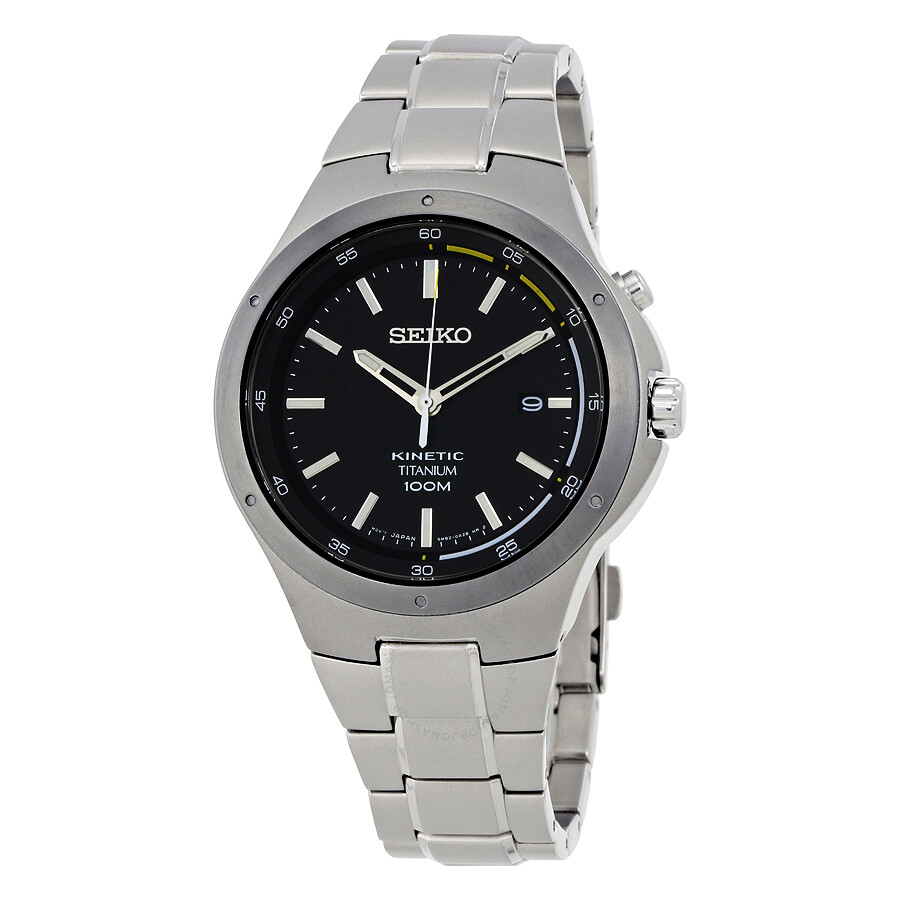 Seiko kinetic black dial men 39 s watch ska715 kinetic seiko watches jomashop for Seiko kinetic watches