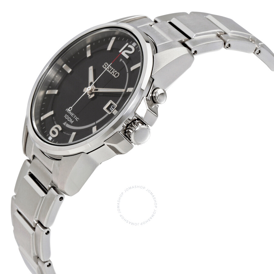 Seiko kinetic black dial men 39 s watch ska671 kinetic seiko watches jomashop for Seiko kinetic watches