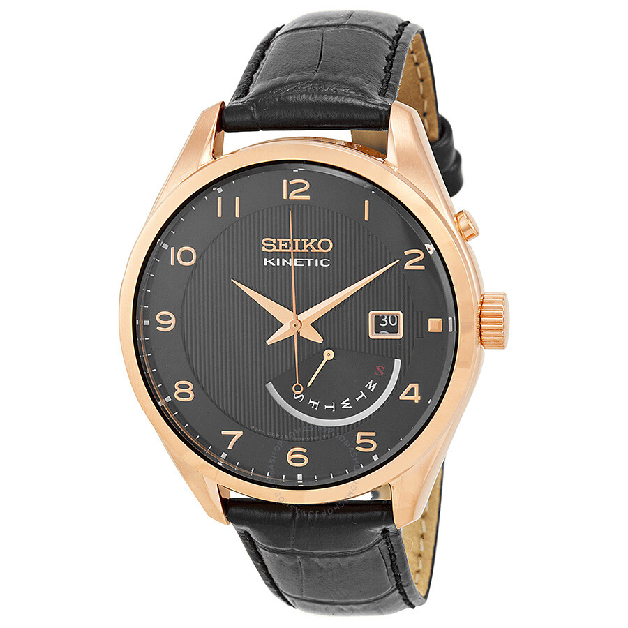 seiko kinetic black dial rose gold tone men s watch srn054