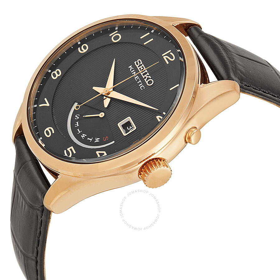 seiko kinetic black dial rose gold tone men s watch srn054 seiko kinetic black dial rose gold tone men s watch srn054