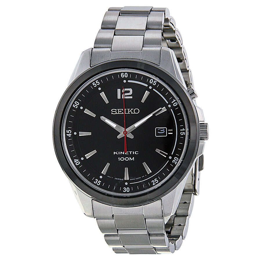 Seiko kinetic black dial stainless steel men 39 s watch ska603 stainless steel seiko watches for Seiko kinetic watches