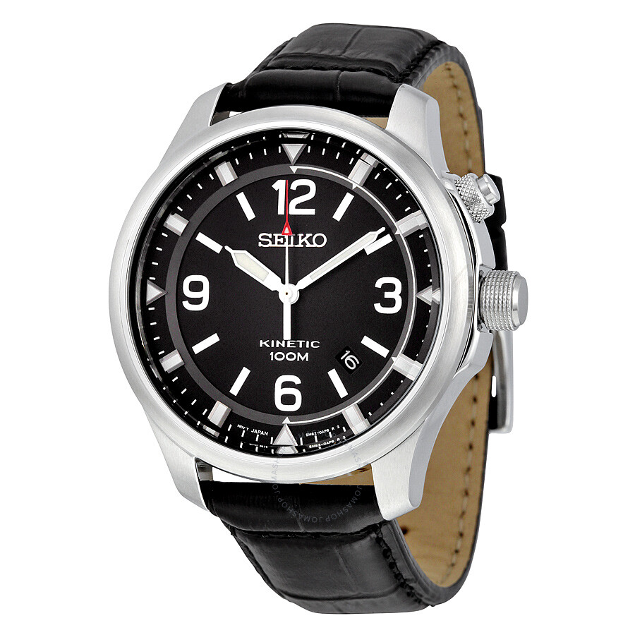 Seiko Kinetic Black Dial Stainless Steel Men's Watch SKA689