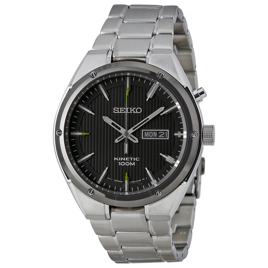 Seiko kinetic black dial stainless steel watch smy151 stainless steel seiko watches jomashop for Seiko kinetic watches