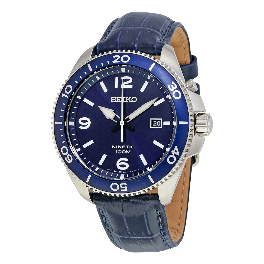 Seiko kinetic blue dial blue leather men 39 s watch ska745p2 kinetic seiko watches jomashop for Seiko kinetic watches