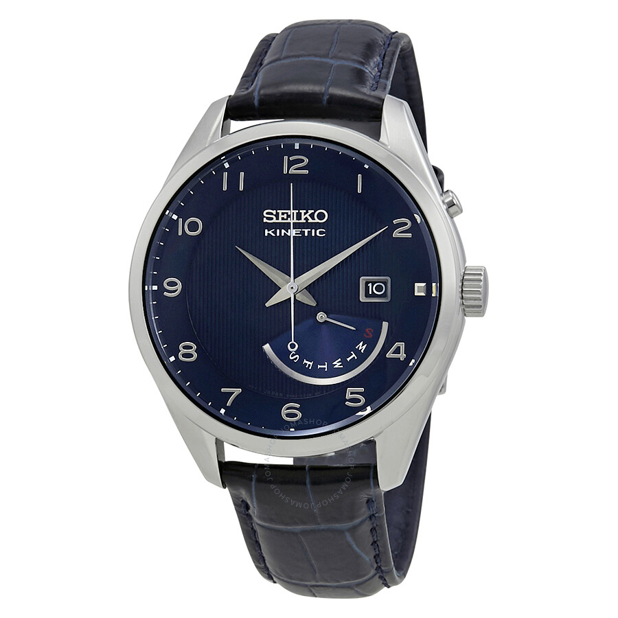Seiko kinetic blue dial men 39 s watch srn061p1 kinetic seiko watches jomashop for Seiko kinetic watches