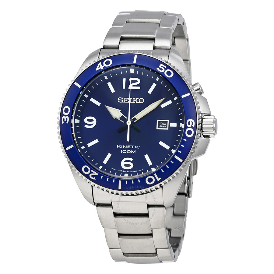 Seiko kinetic blue dial men 39 s watch ska745 kinetic seiko watches jomashop for Seiko kinetic watches
