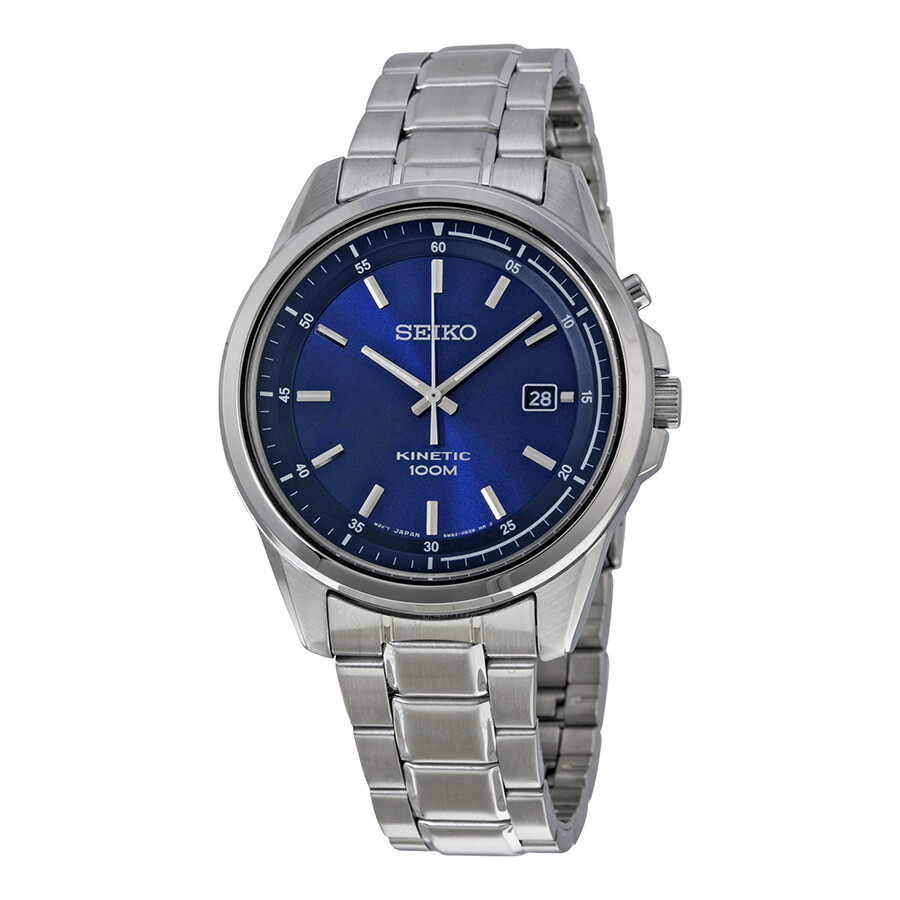 Seiko kinetic blue dial stainless steel men 39 s watch ska675 kinetic seiko watches jomashop for Seiko kinetic watches