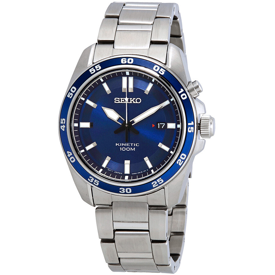 Seiko kinetic blue dial stainless steel men 39 s watch ska783 kinetic seiko watches jomashop for Seiko kinetic watches