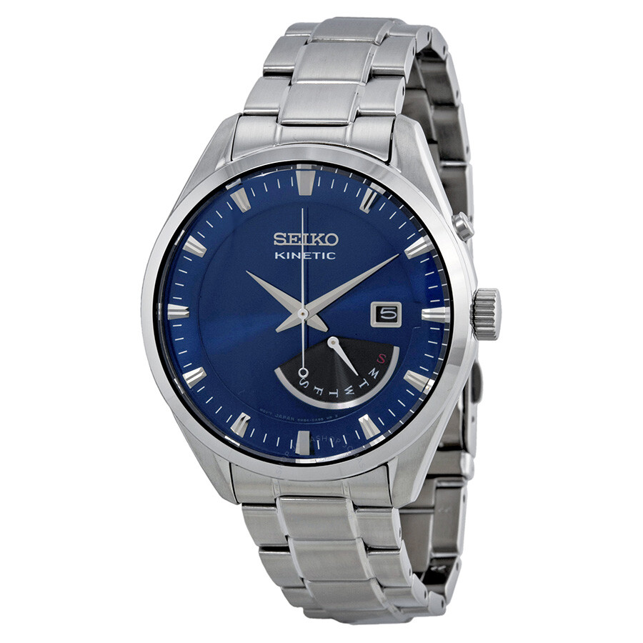 Seiko kinetic blue dial stainless steel men 39 s watch srn047p1 stainless steel seiko watches for Seiko kinetic watches