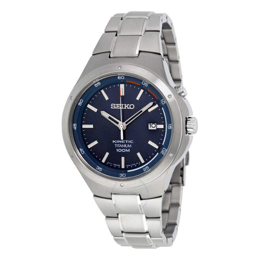 Seiko kinetic blue dial titanium men 39 s watch ska711 kinetic seiko watches jomashop for Seiko kinetic watches
