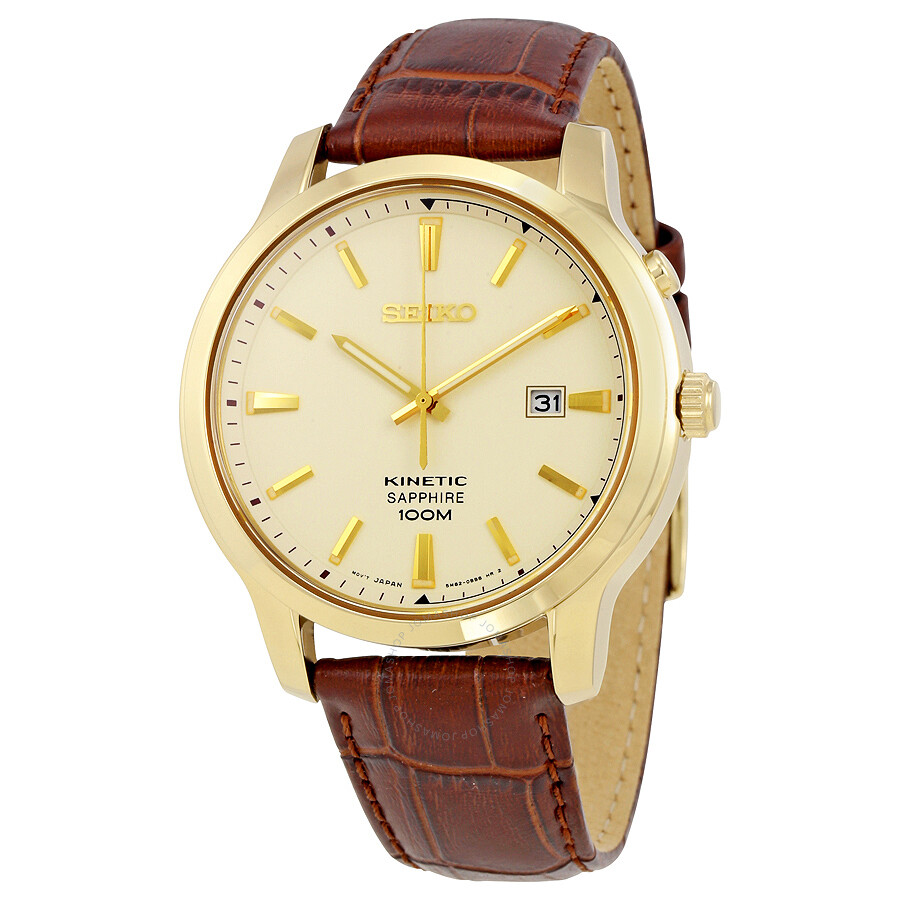Seiko kinetic cream dial gold tone stainless steel men 39 s watch ska744 kinetic seiko for Movado kinetic