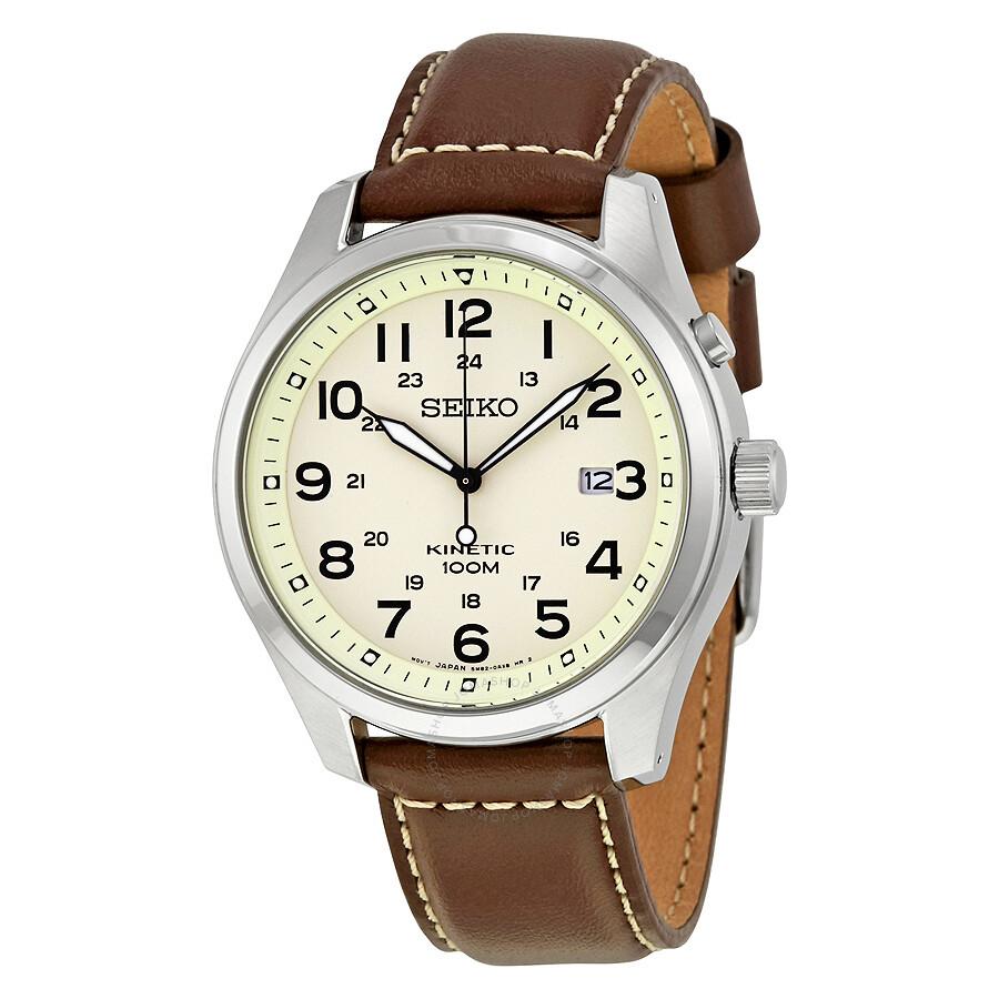 Seiko Kinetic Cream Enamel Dial Brown Leather Men's Watch ...