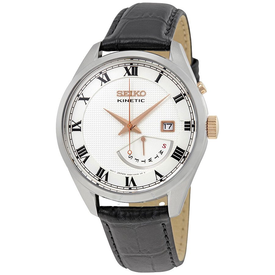 Seiko kinetic date day white dial men 39 s watch srn073 kinetic seiko watches jomashop for Seiko kinetic watches