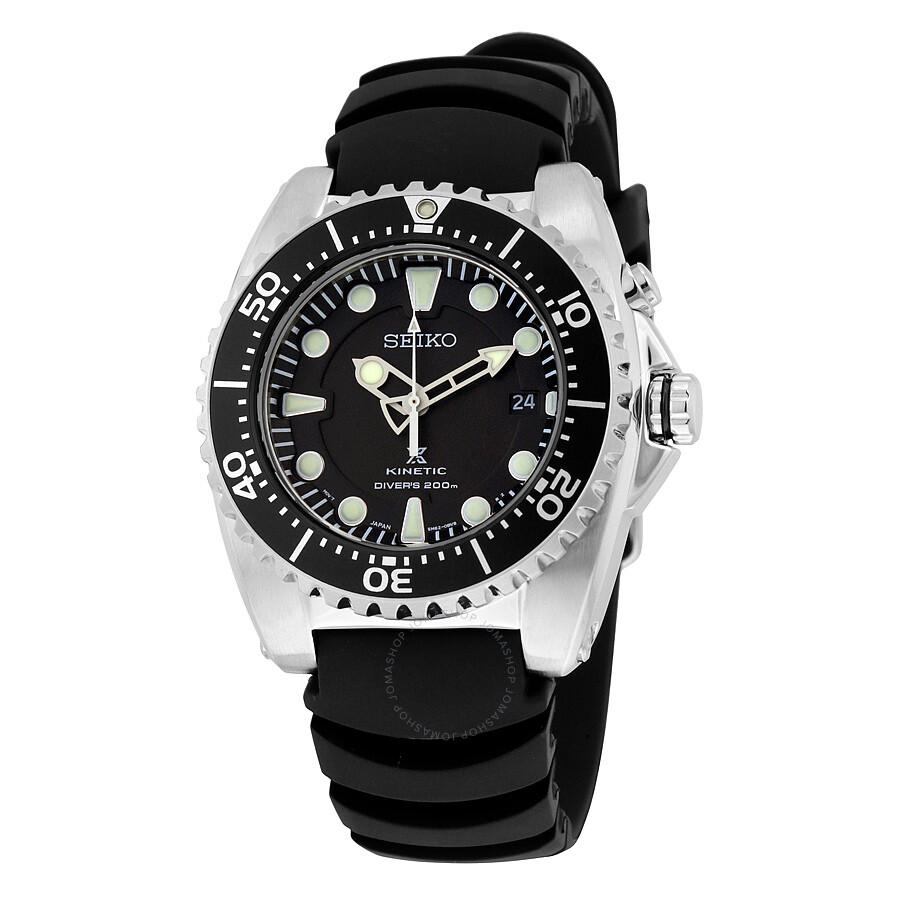 ad4b7d1e5ae9f Seiko Kinetic Dive Black Dial Black Rubber Men s Sports Watch SKA371P2 ...