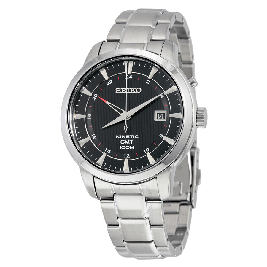 Seiko kinetic gmt black dial men 39 s watch sun033 kinetic seiko watches jomashop for Seiko kinetic watches